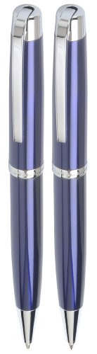 Marquis Metro Ball Pen & Mechanical Pencil Set, Blue Lacquer finish with Chrome accents (WM 828 BE C)