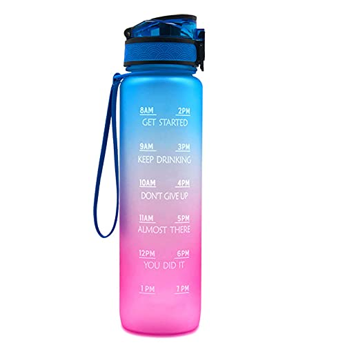 Ayetea Sport Water Bottle, BPA Free Non-Toxic Plastic Sport Water Cup with Time Markings, Measure Hydration and Set Drinking Goals on The Go, Great for The Gym, in The Car, 32Oz (Blue)