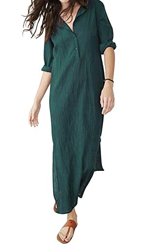 Adelina maxi-jurk linnen jurk dames strandjurk jurk lange blouse-jurk zomerjurk met lange modieuze Completi mouwen 34 36 38 40 42 44 46 48