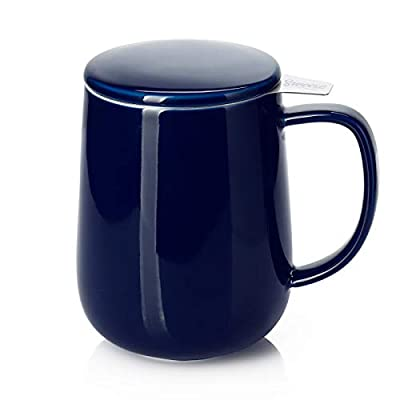 Sweese 204.103 Porcelain Tea Mug with Infuser and Lid, 20 OZ, Navy