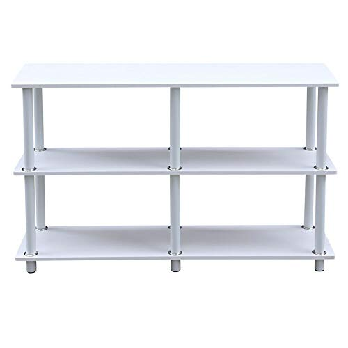 ADHW Modern White Kitchen Table 3 Tiers Shelf Rack Side Console Table TV Stand Wooden