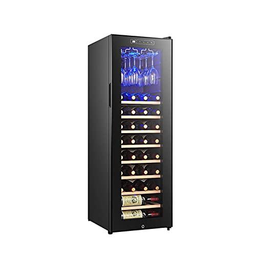 MIAOYO 48 Botella Vinoteca,Independiente Compresor Vinoteca,Vinoteca,Refrigerador De Vino para Tinto Vino Blanco Champán Y Más,Negro,42x47x126cm