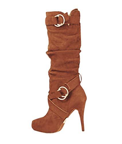 Minetom Damen Stiefeletten Worker Boots Übergrößen Damen Schnürstiefeletten Mit Blockabsatz Spitze Zipper Khaki 38 EU