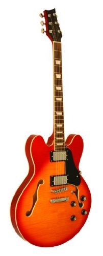 Cheap Kona Guitars KE35CSB Jazzed 335 Flamed Semi Hollow Body Electric Guitar with Custom Fit Tolex Black Friday & Cyber Monday 2019