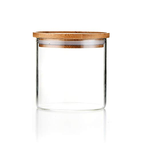 Sweejar Glass Food Storage Jar with Lids(18 OZ),Airtight Canisters Sets for Kitchen,Food Storage Container with Bamboo Lid for Serving Tea, Coffee, Spice and More(18 oz)…