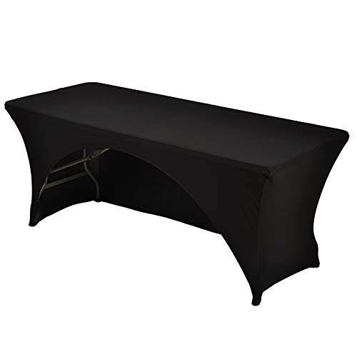 table display for vendors Haorui 6 ft. Black Rectangular Spandex Table Cover Open Back Fitted Stretch Tight Table Cloth Tradeshows Vendors