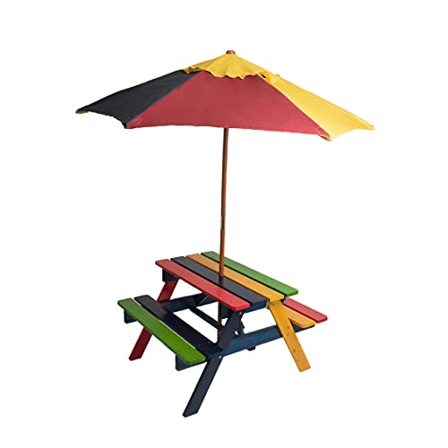 Relsy Kids Picnic Bench With Adjustable Umbrella And Table Set To Make Your Lawn Beautiful With Colourful Children Garden Furniture