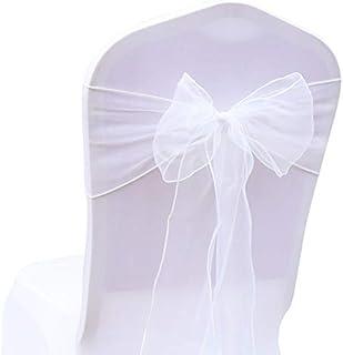 ddbb57e6bafe3 BITFLY 100pcs rubans en organza Housse de chaise nœuds rubans nœuds de  mariage décoration de Ceremonie