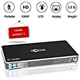 TOUMEI,Mini Portable Projector [2018 Upgarde] C800W Android 7.1 Video Projectors Max Throw 120' Display,Smart Mobile Projector Support Wi-Fi for iPhone,iPad and Laptop