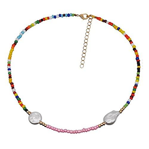 Collar de Cuentas Multicapa diseño de Moda Simple étnico Playa semilla Collar de Cuerno de Cuentas para Regalo de Mujer