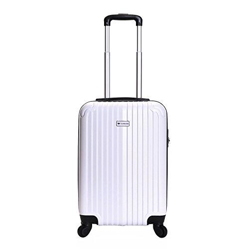 Slimbridge Hard Cabin Hand Carry-on Suitcase Luggage Bag 55 cm 2.5 kg 35 litres 4 Wheels Number Lock, Borba (White)