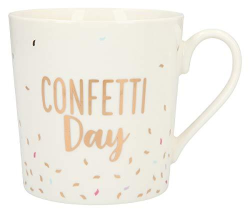 Depesche 5909.021 Tasse mit Henkel, aus Porzellan, 300 ml, mit Aufschrift, Confetti Day, Mehrfarbig