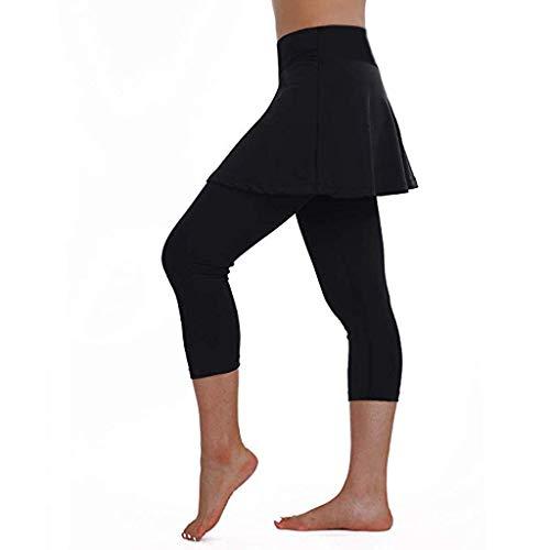 Kword Pantaloni da Donna Estivi Eleganti Casual Leggings Donna Palestra Push Up Tennis Gonna Pantaloni Sportivi Fitness Cropped Culottes Pantaloni Boho (Nero, XL)