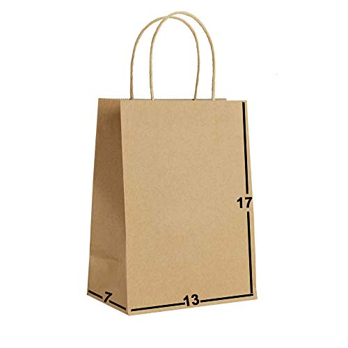 [50 Bags] 13 X 7 X 17 Brown Kraft Paper Gift Bags Bulk with Handles. Ideal for Shopping, Packaging, Retail, Party, Craft, Gifts, Wedding, Recycled, Business, Goody and Merchandise Bag
