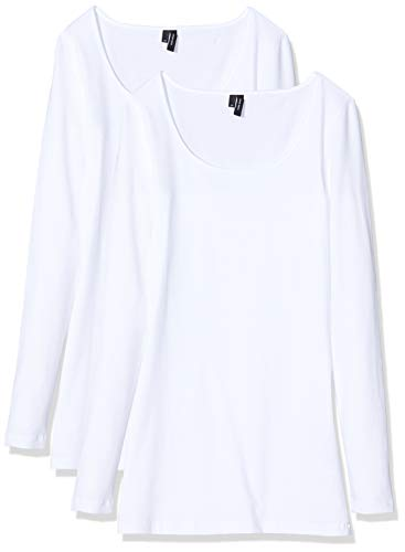 VERO MODA Damen Vmmaxi My Ls Soft Long U-Neck Ga 2Pack Langarmshirt, Weiß (Bright White Pack: Bright White), 40 (Herstellergröße: L) (2er