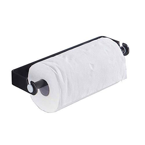 EEUK Portarrollos para Papel Higiénico Adhesivo, Dispensador de Película Porta Rollos, Multifuncional Portarrollos Porta Toallas, Aluminio (Plata/Negro) 24cm-Black