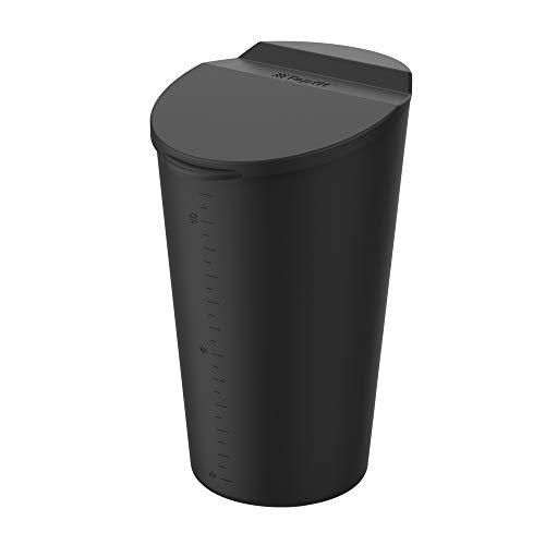 Auto Mülleimer mit Deckel Silikon Auto Aschenbecher Universal Handy Abfalleimer für Getränkehalter in der Konsole oder Tür Mini Müll Kann Behälter für Auto Haus Büro Küche Wohnzimmer (Schwarz)