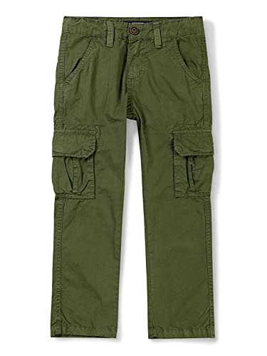 Mesinsefra Boys' Cargo Pants,Casual Outdoor Military Multi Pocket Combat Trousers 1 Green 150CM-9-10 Years