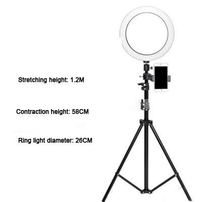 MASODHDFX diameter 26 cm dimbare LED studiokamera ringlicht foto mobiele videolamp met statief zelfontspanner staande lamp,A