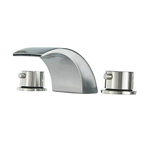 Elewaterhome Widespread Bathroom Faucet LED Light Brushed Nickel Basin Sink Faucet Dual Handles 3 Holes Mount Waterfall Spout Hot and Cold Mixing Tap