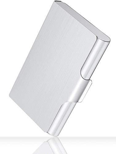 Hamosky - Tarjetero Profesional De Metal Para Tarjetas De Visita, De Bolsillo, Para Hombres Y Mujeres, 22-30 Tarjetas, Gran Capacidad, 3.7' X 2.45' X 0.6', Aluminio, Color Negro, Color Plateado
