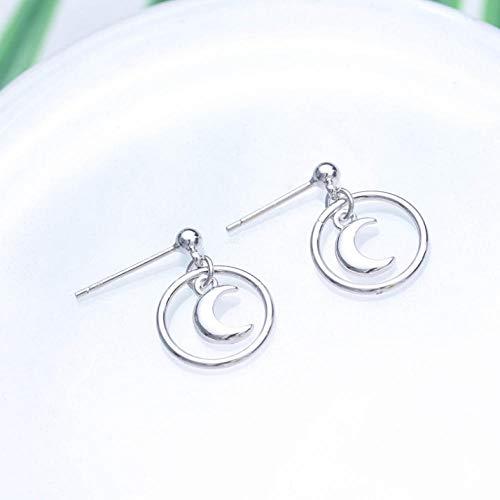 Empty Mode 925 sterling zilver rond met maan stud oorbellen sieraden dames oorbellen
