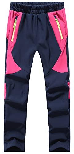 DAFENP Niño Montaña Pantalones al Aire Libre Impermeables Pantalones de Nieve Invierno Calentar Transpirable Softshell Pantalones Niñas Senderismo Pantalones Trekking KZ2001-Pink-XL