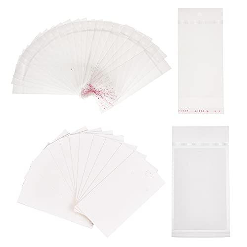 PandaHall Elite 200 Stück Papier Schmuck Ohrringe Ohrstecker Display-Karten mit 200 Stück OPP Zellophan Selbstklebende Taschen, weiß
