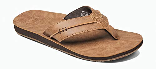 Reef Men's Sandals Marbea SL | Vegan Leather Flip Flops for Men, Tan, 8
