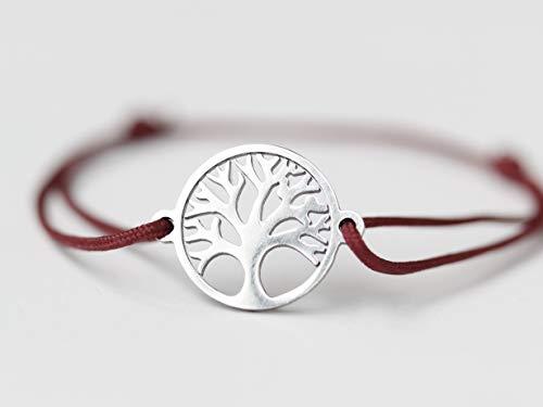 Lebensbaum Armband aus Edelstahl mit einem verstellbarem Stoffbändchen, in 41 Farben verfügbar, altes Symbol der kosmischen Ordnung,