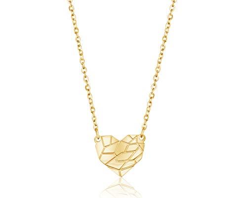 Nuoli® Herz Kette Damen Gold (45cm + 5cm verstellbar) hübsche Halskette mit Herz Anhänger für Frauen & Mädchen