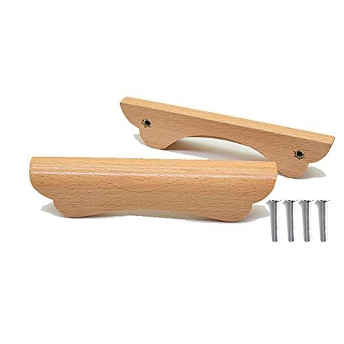 Tirador de madera Muebles Manijas de Gabinete Tiradores de Arco para Armario Manija de Cajón para Puerta Manija de Armario de Cocina Decoración en casa Tornillos Incluidos 2 piezas
