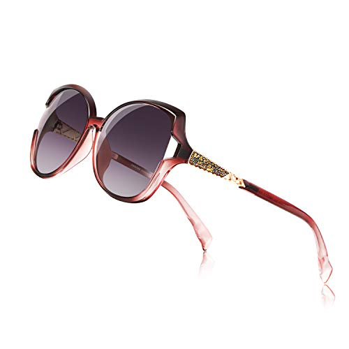PORPEE Gafas de Sol Mujer Polarizadas, 2019 Gafas de Sol Moda con Tecnología de Incrustación de Diamante - Lente de Nylon Polarizado | UV400 Protection | Resistencia al Deslumbramiento