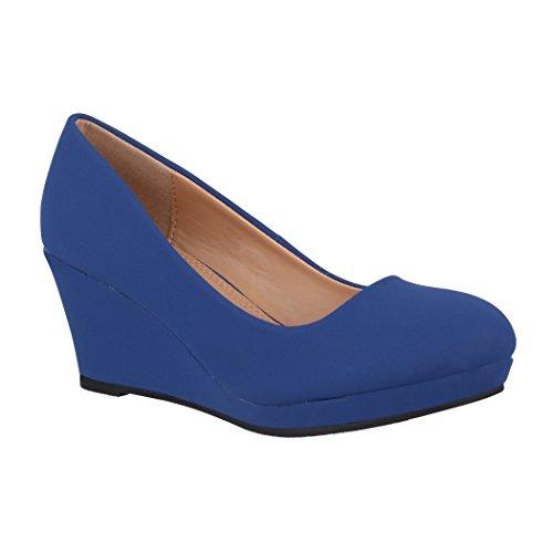 Elara Zapatos de Tacón para Mujer Cuña Plataforma Chunkyrayan B8011 Navy-35