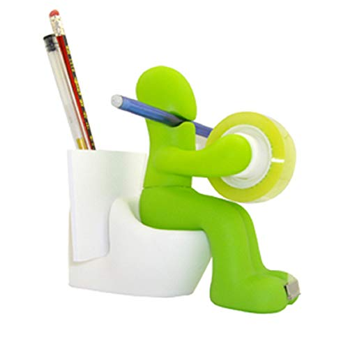 [Queen-b] 1台4役 セロテープ カッター ペン立て クリップ 収納 メモ スタンド おもしろ デザイン 人型 トイレ インテリア 多機能 オフィス 机 卓上 用品 (グリーン)?