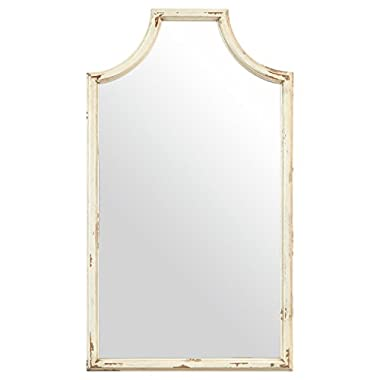 Stone & Beam Curved Vintage-Look Wood Frame Mirror, 28  H, White