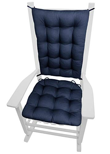 Barnett Home Decor Cotton Duck Navy Blue Rocking Chair Cushions - Size Extra-Large - Latex Foam Fill Rocker Seat Pad & Backrest Cushion with Ties - Tufted, Reversible, Machine Washable, Made in USA