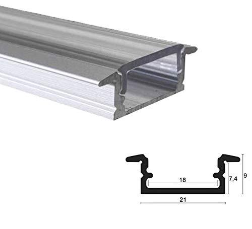 LED Alu Profile Einbauprofil/Flügel-Profil eloxiert für 16mm LED-Streifen (z.B. für Philips Hue Led Strip) mit einklickbarer KLARER Abdeckung 150 cm - EMS