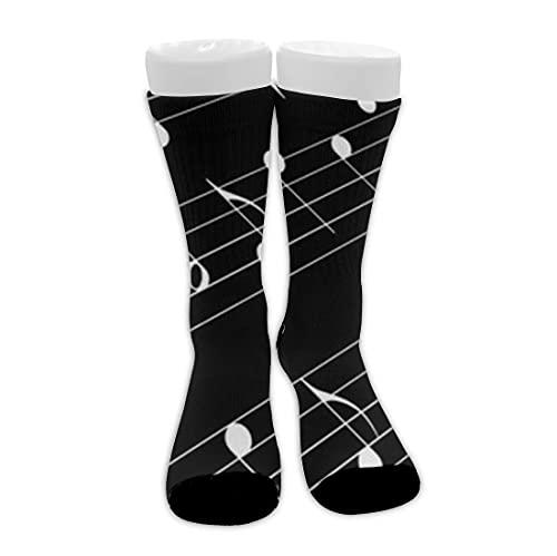 Teclas de piano en blanco y negro Calcetines casuales unisex para botas de media pantorrilla Calcetines de vestir novedosos de moda Calcetines de tripulación de viaje novedosos Calcetines de