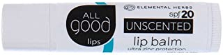All Good SPF 20 Lip Balm for Soft Smooth Lips - Calendula, Lavender, Olive Oil, Beeswax, Vitamin E | Zinc Oxide for Safe Sun Protection (Unscented)