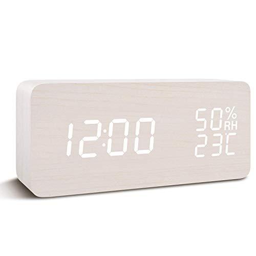 Digitaluhr, Wecker mit hölzerner elektronischer LED-Zeitanzeige, Doppelte Temperatur- und Feuchtigkeitserkennung, Ideal für Schlafzimmer, Nacht Kinder