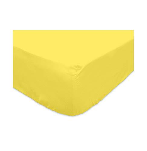 Sábana bajera amarilla 90x200 cm de algodón