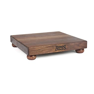 John Boos Walnut Edge Grain Cutting Board with Feet, 12 Inches Square, 1.5 Inches Thick