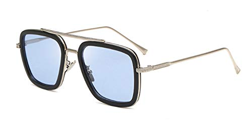 LHSDMOAT Retro Metallrahmen Spider Man Edith Sonnenbrille Square Eyewear Tony Stark Brille (wie Film) für Mann Frau