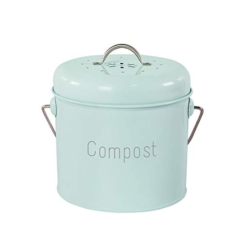 Komposteimer küche Tisch kompost Auffangbehälter Küchen, antik cremefarben, für Lebensmittel/Obst/Nüsse Abfallrecycling,Grün
