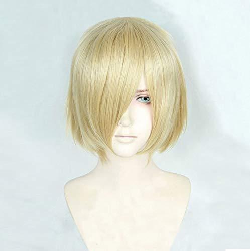 Anime Yuri !!!on Ice Yuri Plisetsky Yurio corto rubio resistente al calor Cosplay disfraz peluca + gorro de peluca