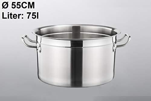 Euro Tische Gastronomie Kochtopf Suppentopf - 30 bis 100 Liter Edelstahl Kochtöpfe - ideal geeignet für ALLE Herdarten & große Küchen - Gastro Topfset (75 L)