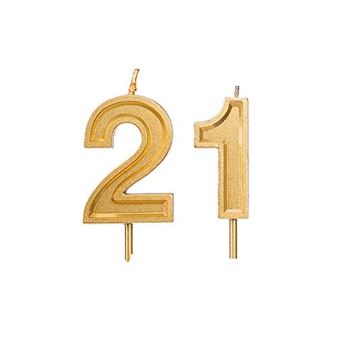 Bailym 21st Birthday Candles,Gold Number 21 Cake Topper for Birthday Decorations Party Decoration