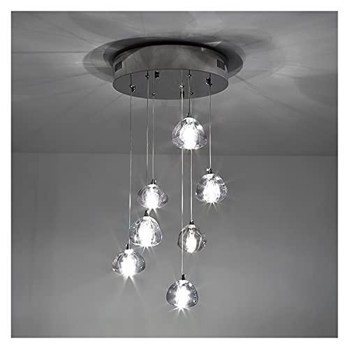 Lámpara De Techo Lámpara LED moderna para la escalera de casa Chandelier Loft Iluminación interior Nórdica Cocina Isla Lámpara colgante CHROME STOP LUSTER chandelier (Emitting Color : Cold White)
