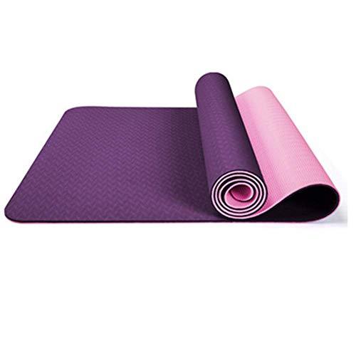 ZMY tappetino da yoga singolo e doppio colore allargato protezione ambientale antiscivolo tappetino yoga outdoor fitness mat, Fucsia, 183X61X0.6cm
